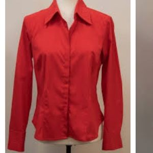 Bright Red Blouse Fred David Stretch